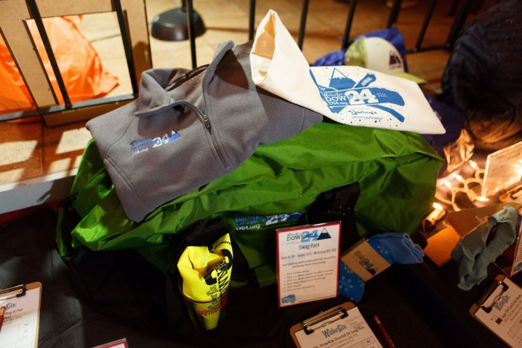 WinterKids License to Chill 2018 Auction Items Downhill24 Swag Bundle Stephen Davis Photo