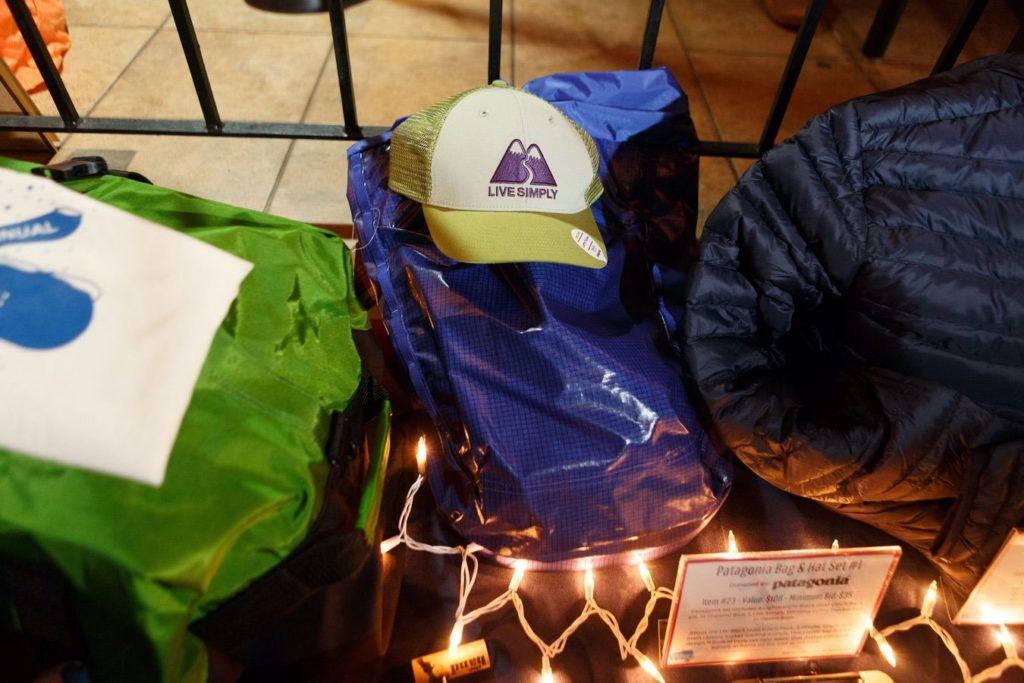 WinterKids License to Chill 2018 Auction Items Patagonia Bag and Hat Stephen Davis Photo