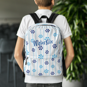 WinterKids Backpack Blue Snowflake front WinterKids Backpack Blue Snowflake mockup Back Lifestyle White