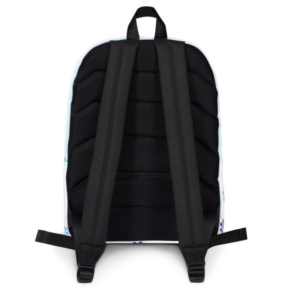 WinterKids Backpack Blue Snowflake front WinterKids Backpack Blue Snowflake mockup Back White
