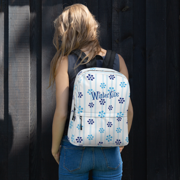 WinterKids Backpack Blue Snowflake front WinterKids Backpack Blue Snowflake mockup Front Womens Lifestyle White