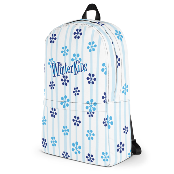 WinterKids Backpack Blue Snowflake front WinterKids Backpack Blue Snowflake mockup Left White