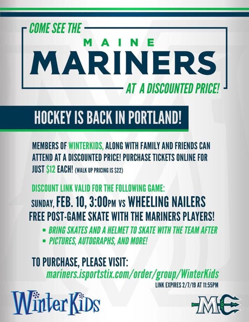 WinterKids Day With Maine Mariners Flyer