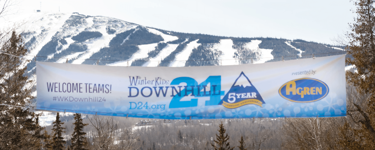 Welcome Teams WinterKids 8th Annual Downhill 24 Banner