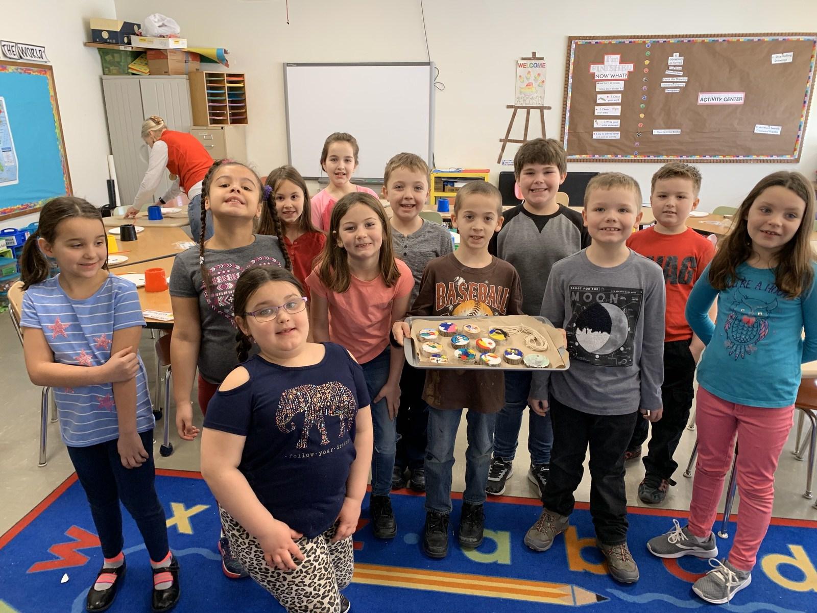 Katahdin Elementary Students Making Tree Cookies WinterKids